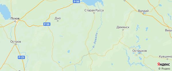 Карта Поддорского района Новгородской области с городами и населенными пунктами