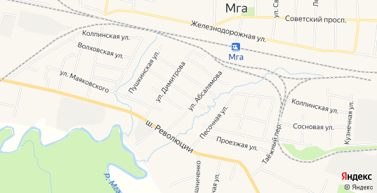 Карта поселка Мга в Ленинградской области с улицами, домами и почтовыми отделениями со спутника онлайн
