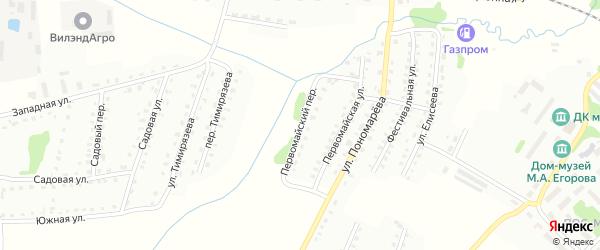Первомайский переулок на карте Рудни с номерами домов