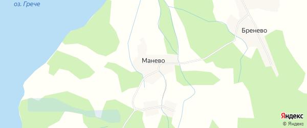 Карта деревни Манево в Псковской области с улицами и номерами домов