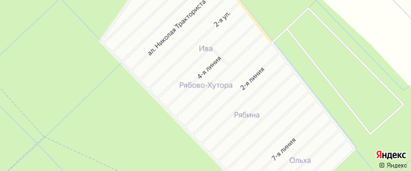 Карта СНТ Рябина массива Рябово-Хутора в Ленинградской области с улицами и номерами домов