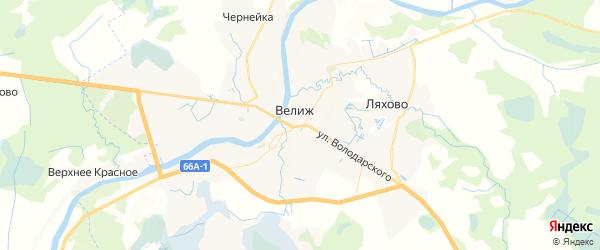 Карта Велижа с районами, улицами и номерами домов: Велиж на карте России