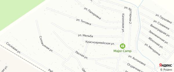 Улица Мельба на карте территории СОТ Колоса Новгородской области с номерами домов