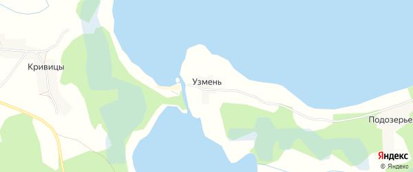 Карта деревни Узмени в Псковской области с улицами и номерами домов