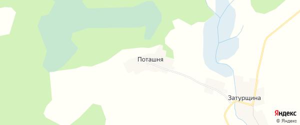 Карта деревни Потащня в Псковской области с улицами и номерами домов