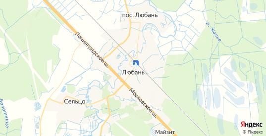 Карта Любани с улицами и домами подробная. Показать со спутника номера домов онлайн