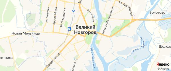 Карта Великого Новгорода с районами, улицами и номерами домов
