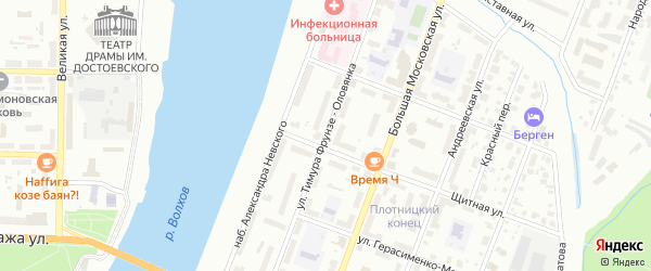 Улица Тимура Фрунзе-Оловянка на карте Великого Новгорода с номерами домов