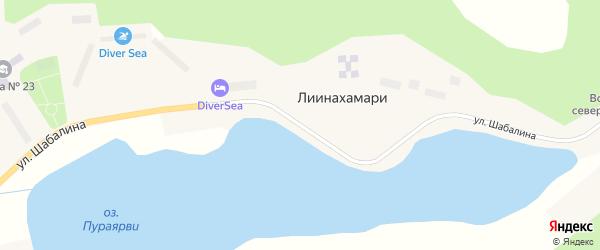 Улица Шабалина на карте населенного пункта Лиинахамари Мурманской области с номерами домов
