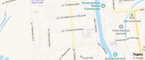 Улица Степана Разина на карте Старой Руссы с номерами домов