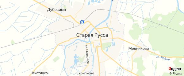 Карта Старой Руссы с районами, улицами и номерами домов: Старая Русса на карте России