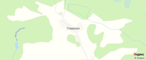 Карта деревни Гладышей в Псковской области с улицами и номерами домов