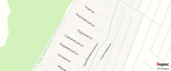 Радужная улица на карте деревни Шолохово Новгородской области с номерами домов