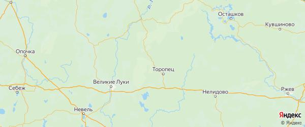 Карта Торопецкого района Тверской области с городами и населенными пунктами