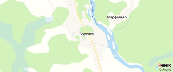 Карта деревни Боровка в Псковской области с улицами и номерами домов