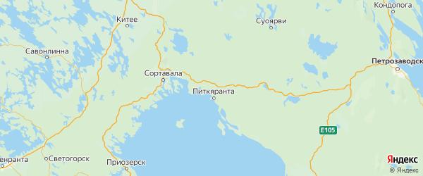 Карта Питкярантского района Республики Карелии с городами и населенными пунктами