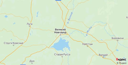 Карта Новгородского района Новгородской области с городами и населенными пунктами