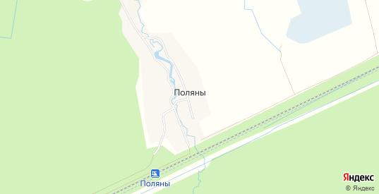 Карта деревни Поляны в Ленинградской области с улицами, домами и почтовыми отделениями со спутника онлайн