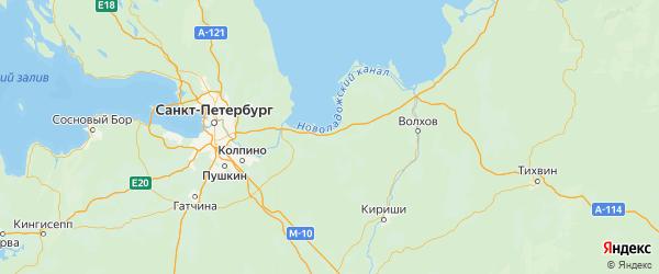 Карта Кировского района Ленинградской области с городами и населенными пунктами