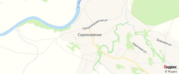 Карта деревни Сырокоренья в Смоленской области с улицами и номерами домов