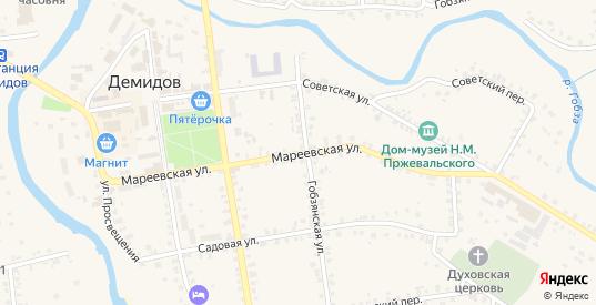 Мареевская улица в Демидове с номерами домов на карте. Спутник и схема онлайн