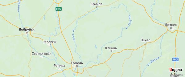 Карта Красногорского района Брянской области с городами и населенными пунктами