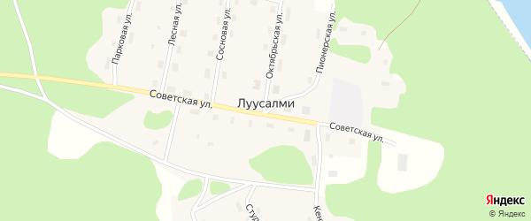 Набережный переулок на карте поселка Луусалми Карелии с номерами домов