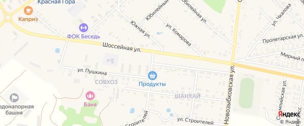Улица Пушкина на карте поселка Красной Горы Брянской области с номерами домов
