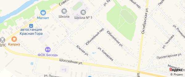 Юбилейный переулок на карте поселка Красной Горы Брянской области с номерами домов