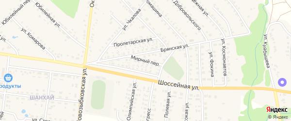 Мирный переулок на карте поселка Красной Горы Брянской области с номерами домов