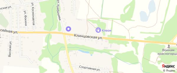 Клинцовская улица на карте поселка Красной Горы Брянской области с номерами домов