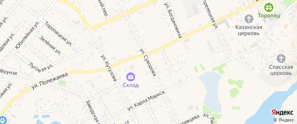 Улица Суворова на карте Торопца с номерами домов