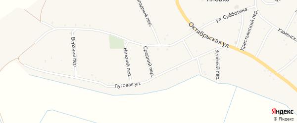 Средний переулок на карте села Яловки Брянской области с номерами домов