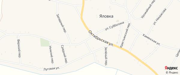 Улица Субботина на карте села Яловки Брянской области с номерами домов