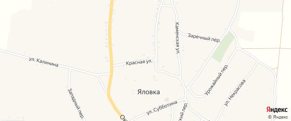 Красная улица на карте села Яловки с номерами домов