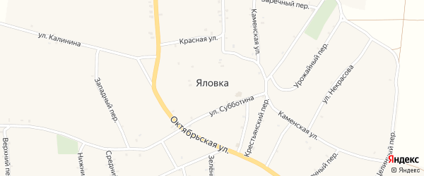 Снежный переулок на карте села Яловки Брянской области с номерами домов