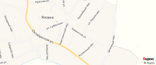 Каменская улица на карте села Яловки Брянской области с номерами домов