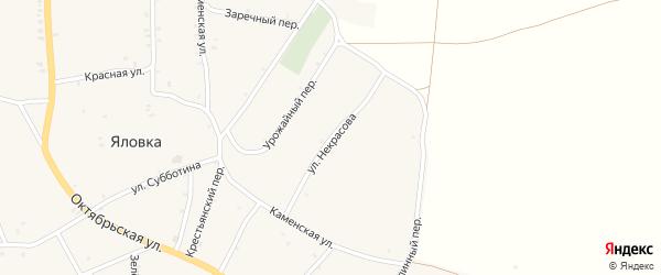 Улица Некрасова на карте села Яловки Брянской области с номерами домов