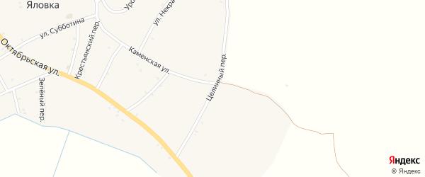 Целинный переулок на карте села Яловки Брянской области с номерами домов
