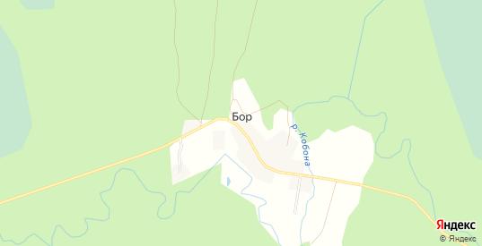 Карта деревни Бор в Ленинградской области с улицами, домами и почтовыми отделениями со спутника онлайн