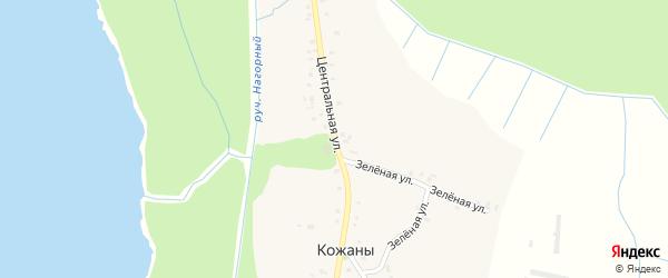 Центральная улица на карте села Кожаны с номерами домов