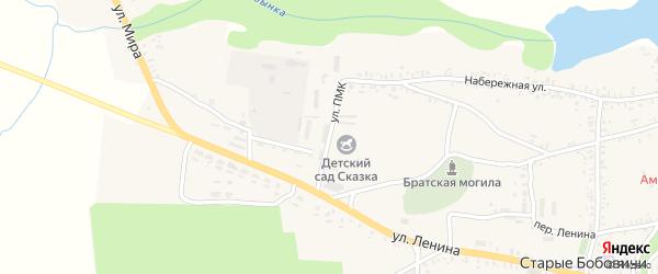 Улица ПМК на карте села Старых Бобовичей с номерами домов