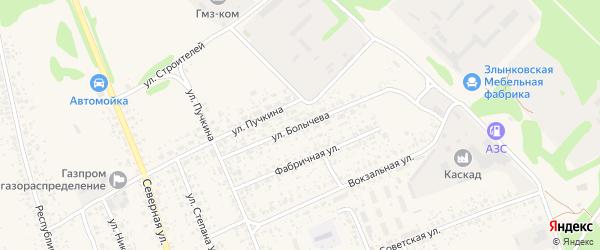 Улица Болычева на карте Злынки с номерами домов