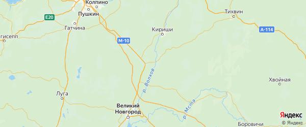Карта Чудовского района Новгородской области с населенными пунктами и городами