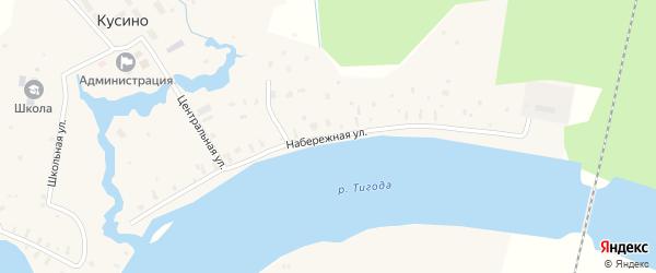 Набережная улица на карте деревни Кусино Ленинградской области с номерами домов