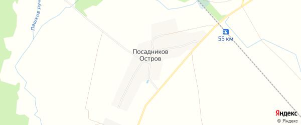 Карта села Посадникова Острова в Ленинградской области с улицами и номерами домов