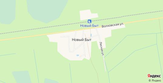 Карта поселка Новый Быт в Ленинградской области с улицами, домами и почтовыми отделениями со спутника онлайн
