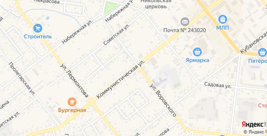 Коммунистическая улица в Новозыбкове с номерами домов на карте. Спутник и схема онлайн
