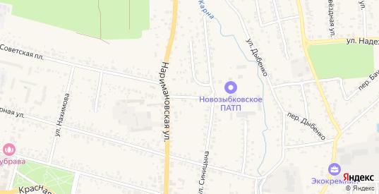 Наримановский переулок в Новозыбкове с номерами домов на карте. Спутник и схема онлайн
