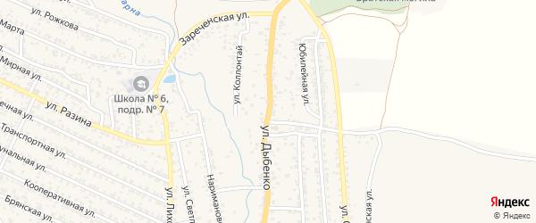 Улица Дыбенко на карте Новозыбкова с номерами домов
